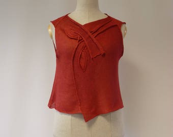 Summer casual coral linen top, L size.