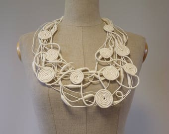 Artsy off-white linen necklace. Perfect for gift.