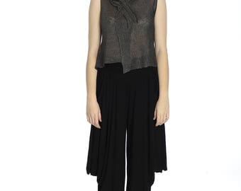 Special price. Summer transparent grey linen top, S size.