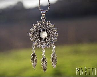 DREAM CATCHER pendant, necklace tribal necklace, feathers, Dreamcatcher pendant with stones, necklace boho. Ethnic style.