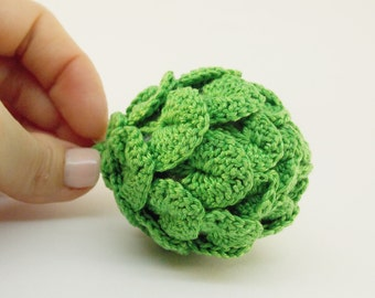 1 Pcs - Crochet  artichoke , teether teeth, play food, Crochet Kids Toy, Montessori Sensory toy ,crocheted vegetables