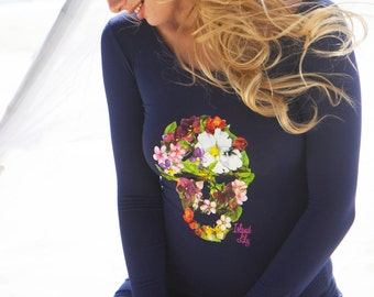 Women's Navy Long Sleeve Tops with Tropical Skull Print