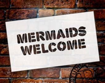 Mermaids Welcome - Word Stencil - Select Size - STCL1484 - by StudioR12