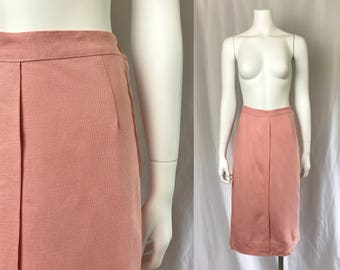 Small ** 1940s PINK soft cotton linen straight skirt ** vintage forties coral summer skirt
