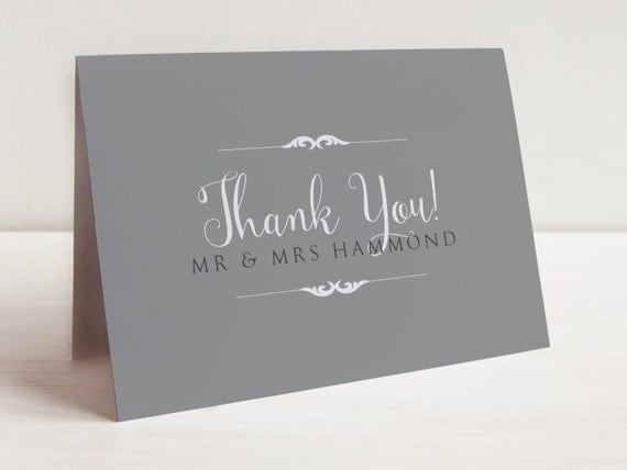 Elegant wedding thank you cards elegant by ellebeedesignuk for Elle king wedding dress designer