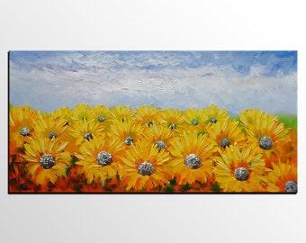 Oil Painting, Sunflower Landscape Painting, Canvas Art, Large Art Painting, Abstract Painting, Abstract Art, Oil Painting, Large Wall Art
