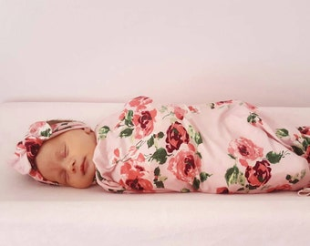 Baby swaddle set in Pink Roses  Floral, Luxury Collection, headband, baby photo prop, hospital set, baby gift,  stretchy swaddle,