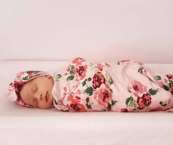 Baby swaddle set in Pink Roses Floral Luxury Collection