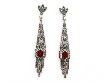 Art Deco Earrings Carnelian Red Agate Silver Marcasite