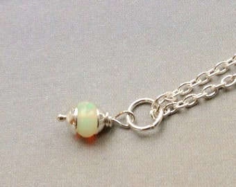Petite AA Ethiopian Opal Pendant- October birthstone, Opal necklace. natural Welo opal, sterling silver, silver pendant, natural gemstone