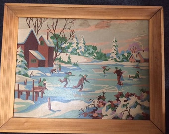 Vintage paint by number ice skating scene