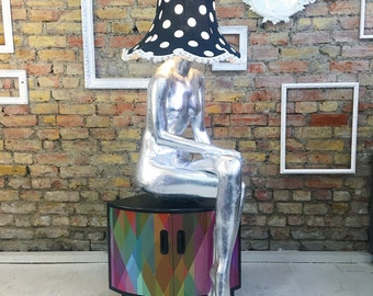 Upcycled vintage retro table mannequin lamp silver leaf polka dot shade