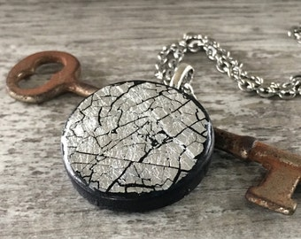 Hand Painted Polymer Clay Large Pendant Necklace