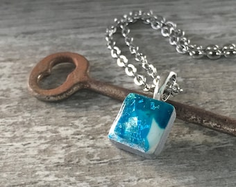 Hand Painted Polymer Clay and Resin Tiny Pendant Necklace