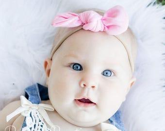 Nylon Headband  - Newborn Headband - Valentines Pink Headband - Baby Headband - Baby Bow Headband   - Light Pink Hair Bow - Baby Gift
