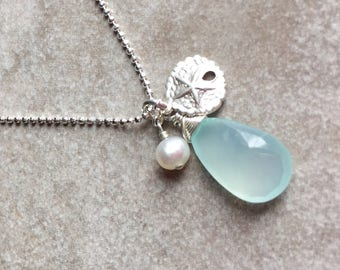 Aqua Chalcedony Pendant Necklace, Teal Blue Green Chalcedony, Sterling Silver Starfish, Freshwater Pearl, Beach Ocean Nautical Jewel