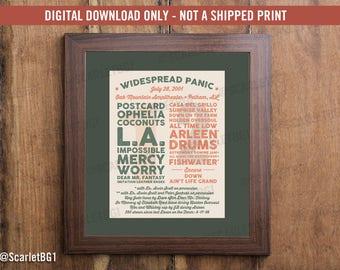 Widespread Panic Setlist Art Print - Oak Mountain 7/28/01 - Digital Download (Not a shipped print)