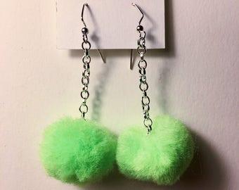 Neon Green Pom Pom Earrings