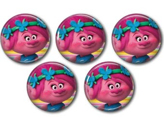 5 Trolls Movie Poppy CABOCHONS | EPOXY STICKERS Bottle Caps Hair Bows Scrapbooking Jewelry Magnets Crafts