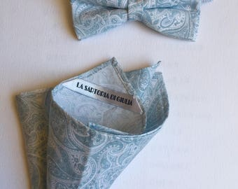 Bowtie and matching pocketsquare cotton light blue and white