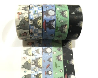 Japanese Washi Tape, Studio Ghibli My Neighbour Totoro Anime 5 Designs to Choose From 3 METRES