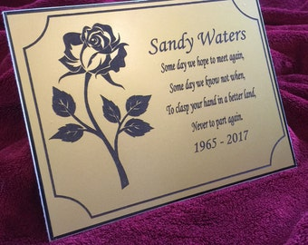 1st 4 Signs Memorial Plaque - Personalised Made to Order - Commemorative Plate