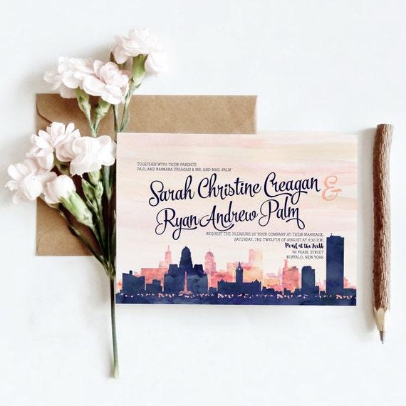 Wedding Invitations In Maryland: Baltimore MD Watercolor Skyline Wedding Invitations 4 Piece