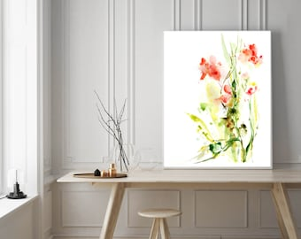 Abstract floral print, art print, watercolor painting of abstract flowers, pink green modern wall art