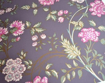 Wallpaper - Cole and Son  Sample Sheet  - 19 x 17  Myrtle Floral Plum