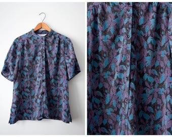 SALE Vintage silky floral blouse | S/M