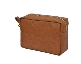Large Cosmetic Bags-Faux Leather-Lined-Monogrammed