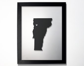 Vermont Map / Laser Cut Map / Vermont State Art / Vermont Art / Framed State Map / Vermont Gift / Wedding Gift / Anniversary Gift / Decor