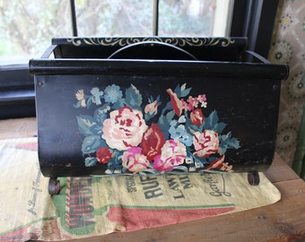 Black Tole Magazine Rack with Roses, Black Metal Magazine Rack, Tole Paint by Number, Shabby Magazine Rack