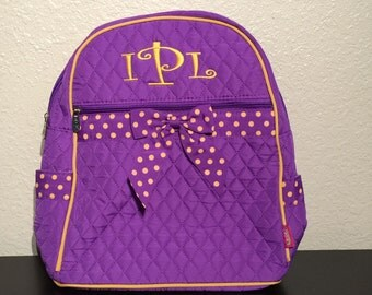 Purple and Gold Quilted Monogrammed Backpack