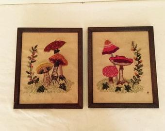 Vintage embroidered wall art//wall decor//art//hand work//folk art