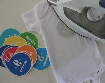 "Do-it-Yourself Monthly Onesie Kit - Iron-on monthly ""sticker"" to celebrate monthly milestone in baby's first year - DIY 12-month sticker kit"