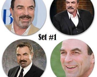 "Set of 4 Tom Selleck Large 2.25"" Pinback Buttons or Magnets - Choose Your Favorite Set"