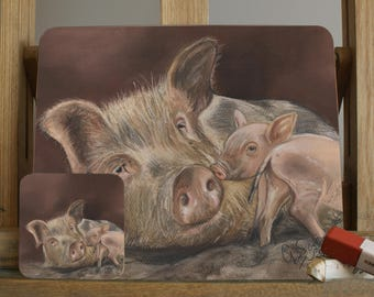 Sow And Piglet Farmyard Pig Placemat By Artist Grace Scott