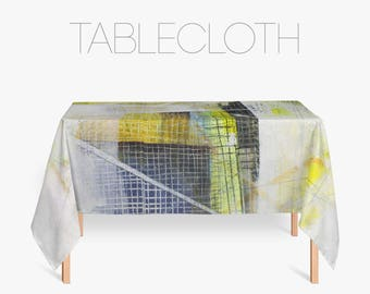 Blue And Yellow Abstract Tablecloth, Kitchen Tablecloth, Art Photo Tablecloth, Polyester Fabric, Kitchen Decorations
