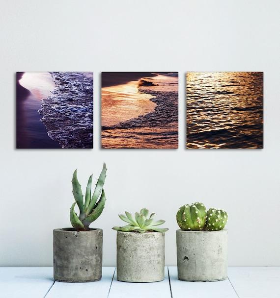 Water Texture Canvas Art, Wall Decoration, Set of 3 Wall Art, Sunset Photography, Beach House Decor, Canvas Prints, Wall Art Panels
