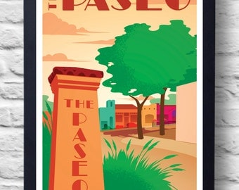 OKC Paseo Vintage Travel Poster, art, retro painting, gift
