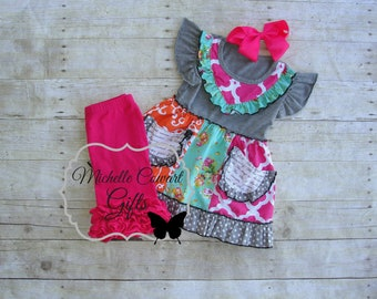 Shorties Outfit, Ruffle Shorts, Shorties, Back to School, Baby, Girls, Toddler, Boutique Set, Birthday, 18M, 2T, 3T, 4T, 5, 6, 7, RTS, Pink