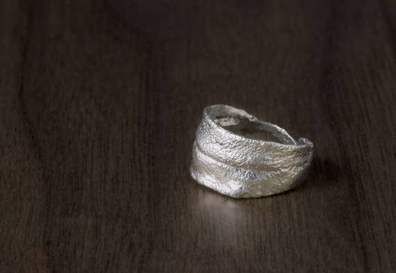 Sage Leaf Ring - Sage Wisdom & Natural Texture Hand Cast in Sterling Silver  - Unique, Gift, Cook, Botanical, Nature, Herbs, Garden, Savory