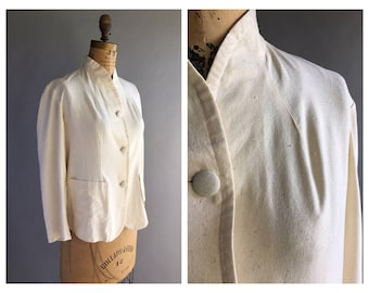 1970's Cream Raw Silk Jacket