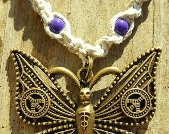 Handmade Tribal Peace Butterfly Chakra Hemp Necklace