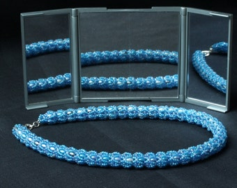 Forget-me-not Blue Superduo Rope Necklace