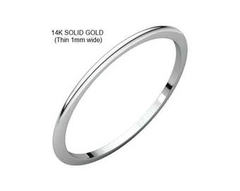 1mm wide (thin) 14K Solid White Gold Ring (Premium Quality)