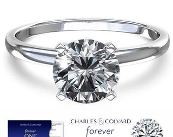 SALE! 1.00 Carat (6.5mm) Moissanite Forever One Solitaire Engagement Ring (with Charles & Colvard authenticity card)