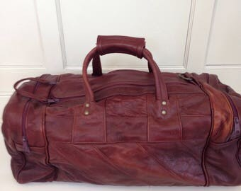 Thick leather travel bag, leather gym bag , overnight bag