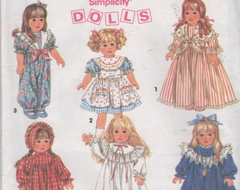 "18""  Doll Wardrobe Clothes  Sewing Pattern, Dresses, Romper, Nightgown, Pantaloons  Simplicity 8211 , Uncut"
